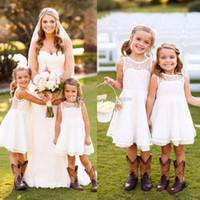 2016 Cheap Pretty Short Dentelle Crew Filles Filles Robes Longueur au genou été sans manches Garden Beach Enfants Skirt Country Wedding Party Gowns