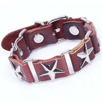 american pentagon - Alloy Pentagon decorated BRACELET Unisex Real Leather Bangle Fashion wrist Bangles Women bracelet FAST RECEIVING FACTORY DIRECT Jewelry