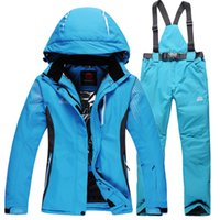 Wholesale Women s Ski Set Solid Hooded Jacket And Solid Bib Ski Pant Made Of Waterproof Windproof Breathable Fabric
