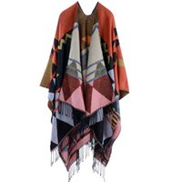 Wholesale Fashionable woman Bohemia extension thickening of qiu dong season national wind tassel fork warm shawl cloak Multicolor optional