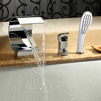 bathtub faucet with handheld shower - Waterfall Spout Bathtub Faucet One Knob Mixer Tap with Handheld Shower Head