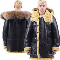 Men aviation leather jackets - B3 shearling Leather jacket Bomber Fur pilot Force World II Flying aviation B7