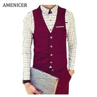 Wholesale Fall New Arrival Mens Single Breasted Four Buttons Fashion Veste Homme Gilet Costume Homme Sleeveless Red Casual Vests For Men