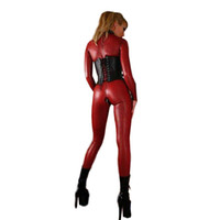sexy leather catsuit - M L XL Sexy Catsuit Lingerie Black Red Faux Leather Plaid Long Jumpsuit Zipper to Crotch Bodysuit Pole Dance Costume for Women W7942