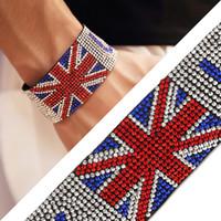 Wholesale Fine Jewelry Shiny Diamante Popular Nightclub Singer UK Flag Hot Fix Rhinestone Men Bracelet Hip Hop Bijoux Hipsters Women Wristband Bangle