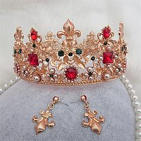 Wholesale Baroque Style Gold Leaf Red rhinestone Wedding Tiara Crown And Earring Set Alloy Bridal Queen Princess Crown Hair Accessories