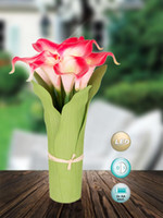 Wholesale Real touch PU Cala Lily led flower With Led night light arrangement Home decoration Christmas party supplies wedding festival gift