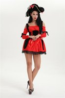 Wholesale Christmas Hats For Adults - Wholesale-2016 Sexy Adult costumes Red Pirate Costume Halloween Costumes For Women Clothes With Hat Christmas Uniforms free pp