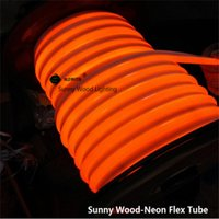 Wholesale 50 meters led neon flex tube V input led sign board tube Flexible tube Orange color with power cord and clips LNF V