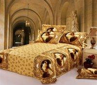 achat en gros de coton couvertures queen size-100% Peinture à l'huile de coton de luxe Palais style 3D literie amant mis queen size couverture or housses de couette