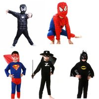 Wholesale 2016 Halloween Red Spiderman Costume Black Spiderman Batman Superman kids Anime Cosplay kids Superhero Capes Anime Cosplay Carnival Costume