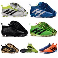 Wholesale 2016 Cheap Mens No lace Soccer Cleats ACE Purecontrol FG High Tops Football Boots Sales Soccer Boots Pure Control Soccer Shoes Green