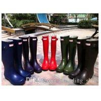 Wholesale Hunter Original Tour Women s Balck Rain Boots Norris Field Buckle Winter Rain Boots Ms glossy Waterproof Hunter Wellies Boots Pink Yellow