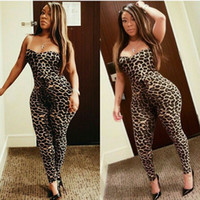 Wholesale Sexy Leopard Bodysuit Xl - 2016 Leopard Print Jumpsuits For Women Sexy Strapless Bodysuit Over Hip Night Club Jumpsuits Free Shipping 2139