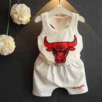 baby bull - 2016 Summer Baby Boys Casual Sports Suits Kids Bulls Printed Sleeveless Cotton Tank Tops Vest Shorts Children Clothing Outfits Sets