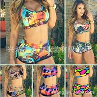 82% polyester, 18% Nylon bikini tops - Fashion Women High Waist Bikini Set Push Up Top Swim Shorts Print Sexy Swimwear Beach Wear swim suit bathing suits