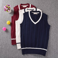 Wholesale 2016 College British Style Students V neck Sleeveless Sweater Twist Knit School Uniform Cotton Vest Red Blue White
