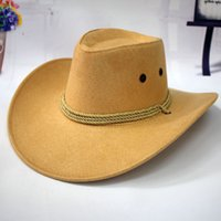 adjustable riding hat - Summer Sun Hat Big Men Western Cowboy Hat Riding Leather Hat Cap Outdoor Camping Adult Cap Hats
