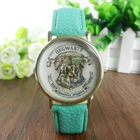 battery school - 2016 New Women Ladies Quartz Watch Geneva Leather Strap HOGWARTS Magic School Watches Colors