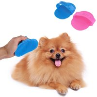 Wholesale New Rubber Pet Bath Brush Comb With Fixed Band Cat Dog Cleaning Massage Grooming Glove Color Random PET