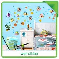 bathroom cabinets free shipping - Diy wall stickers child real bathroom kitchen cabinet wall stickers fish AY652