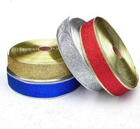 Wholesale 2016 New Yard Christmas Decorations Ribbon Christmas Ribbon Golden Silver Red Christmas Stree Decoration Gift Bandage yard DHL free