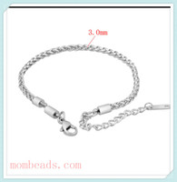 Wholesale 3 mm Franco stainless steel chain Bracelets For women Fit Europen Pandora Troll Chamilia Charms Beads Lobster Claw Clasp Extender Chain