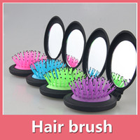Wholesale Massage Brush With Mirror Anti Static Soft Bristle Straightening Wet Or Dry Detangle Comb For All Hair Types DHL Free