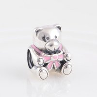 baby bracelets for girls - Teddy charms baby girl Authentic S925 sterling silver fits for pandora style bracelets ale181H9
