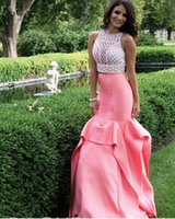 rhinestone see through dress - 2016 Rhinestones Crystals Prom Dresses Luxury Women Special Formal Dress See Through Two Piece Evening Pageant Party Gowns Illusion Bodice