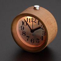 Wholesale Wooden Alarm Clock Circular No Ticking Snooze Backlight Digital Desk Wood Clock
