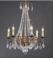 antique silver chandelier light - American Country Retro Crystal Chandelier Light Antique Silver Crystal chandelier Light Head