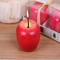 Wholesale Novelty Funny cm Apple Orange Fruit Shape Non toxic Candles Christmas Eve Festival Annivesary Party Gift Bar Decor