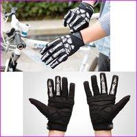 achat en gros de gants punk hommes-Hommes Femmes Gants de sport en plein air, Punk Squelette Bone Design Full Gant doigt, Gant Fitness Gym Gants de vélo de moto de vélo