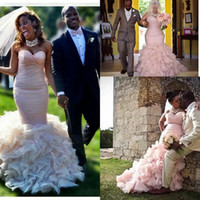 beach africa - 2017 Blush Pink Plus Size Mermaid South Africa Wedding Dresses Garden Sweetheart Ruched Tiers Ruffles Backless Vintage Bridal Gowns