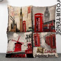 big brown sofa - 45cm Retro London Big Ben Cotton Linen Fabric Waist Pillow inch Fashion New Home Gift Coffeehouse Decoration Sofa Car Cushion
