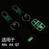 audi key chains - High Quality Hand Sewing Luminous leather Car key cover Car Remote Key Chain Case Holder For A6L A4 Q7 Buttons Folding