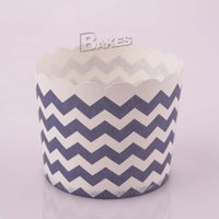 Wholesale Cake Paper Cups Cupcake Ice Cream Muffin Baking Cup Liners Bakeware Kitchen Tools Cases Candy Box Deep Blue Chevron Design Party Gifts Favor
