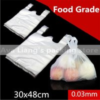 plastic carrier bags - 30 cm High Quality big size HDPE Supermarket White Vest Plastic Carrier Shopping Hand Bag Packaging Bags