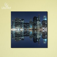 art reflection - Modern City Reflection Home Decor Cheap Unframed Wall Art Painting Canvas Art Printed Modular Picture For Living Room Decoration
