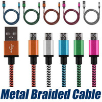 alluminium alloy - 1 M Alluminium Alloy USB Head Colorful Nylon Braided Micro USB Cable Data Sync Charger Cable Cord Wire for Xiaomi for Samsung for Android