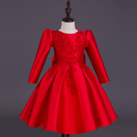 baby dresses quality - Baby Kids Clothing Flower Girls Dresses wedding princess Long sleeve lace vintage high quality Chinese style Red Ball Gown pageant dress