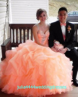 Wholesale 2016 Quinceanera Dresses Prom Party Ball Gown Beads Crystals Coral Organza With Spaghetti Straps Lace Up Sweet Ruffles Long