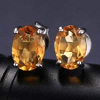 Cheap 1.4ct Natural Stone Yellow Citrine Earrings Oval Charms 925 Sterling Silver Women 2016 New Trendy Stud Earrings Gemstone Jewelry