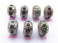 Wholesale Pandora Style DIY Jewelry Slider Bracelets mm loose bead diamond bead metal set auger macroporous beads