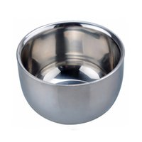Wholesale Soap Cup Shinning High Quality Double Layer Stainless Steel Heat Insulation Smooth Shaving Mug Bowl