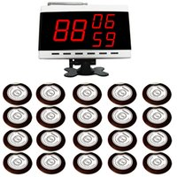 airport display - SINGCALL Wireless Table Paging System Airport Pack of White Table Bells and pc white Display Number Display That Show Groups of