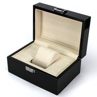 Wholesale high quality Wooden Box Black Watchs Boxes Gift Box Crown logo Wooden box with Brochures cards Wooden box glitter LSL0130