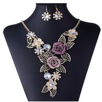 anniversary diamond earrings - American Jewelry exaggerated retro fashion charm necklace earrings set alloy hollow flower type diamond necklace chain set