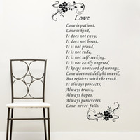 bible quote for love - Home Decor Wall Sticker large size Love is patient love is kind white brown art Vinyl Bible verses Wall Quote stickers home